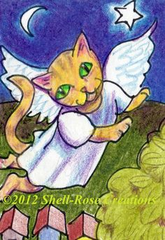 Original Golden Tabby Cat Kitty Angel Wings Christmas Town Art Painting ACEO | eBay