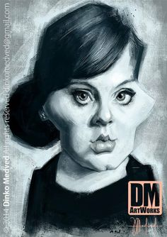 Adele - Caricature by Dinko Medved Artworks, more info: https://www.facebook.com/DinkoMedvedArtworks #Adele #Caricature