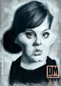 Adele - Caricature by Dinko Medved Artworks, more info: https://www.facebook.com/DinkoMedvedArtworks #Adele #Caricature