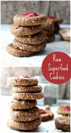 Raw Superfood Cookies made with dates, oats and lots of nutrient packed #superfoods. These cookies are #vegan and #glutenfree and so quick and easy to make!