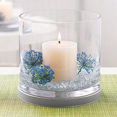 Simple pillar, flower and candle holder.    http://www.partylite.biz/sites/nikkihendrix/productcatalog?page=decoratingIdeas&diPage=1