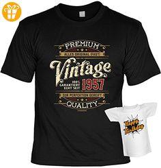 Geburtstag T-Shirt Set Premium Vintage alles Original seit 1957 mit Mini-Shirt ohne Flasche (*Partner-Link)
