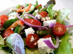 When I made this a couple of nights ago, James ate the salad, thentipped the bowl to his lipsso he could finish off the rest of the dressing. This Greek salad fromAllrecipes is his favourite sal…