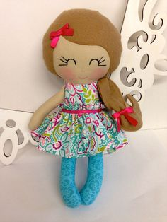 Handmade Dolls Fabric Dolls Soft Doll Cloth by SewManyPretties, $44.00