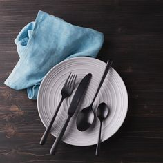 Premium cutlery line Faro. Forged cutlery with timeless simple design in PVD finish in matt black finish. Black Cutlery, Cutlery Set, Simple Designs, Simple Drawings, Flatware Set
