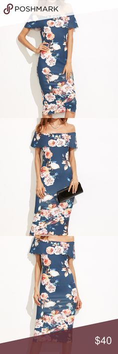 ✅LAST ONEFLORAL BARDOT DRESS W/scalloped trim Item#BHB1270416R. Measurements: L Shoulder:15.7inch,  Bust:34.6inch,  Waist Size:27.2inch,  Hip Size:34.8inch,  Length:37.8inch. Fabric is very stretchy Dresses