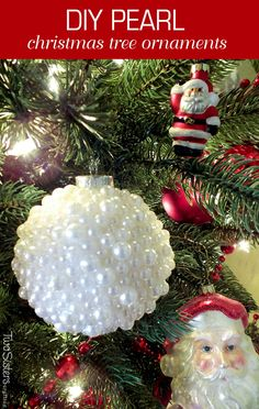 These DIY Pearl Christmas Ornaments are a fun craft that results in a beautifully unique Christmas tree ornament that you can make for yourself or as a gift. For more great Christmas Decorations follow us at http://www.pinterest.com/2SistersCraft/