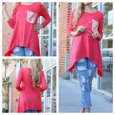NWT - Red Lace Pocket Jersey Top NOW AVAILABLE Red Lace Pocket Jersey Top - Solid Knit - 96% Polyester, 4% Spandex - Sizes (S,M,L) Preorder Only! Please ask for a separate listing before purchasing! --- 4 Left Available! Tops