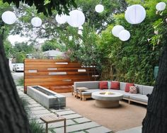 Love this festive and creative modern backyard design