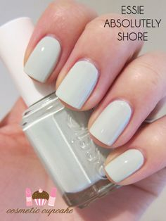 Essie Absolutely Shore - this might be my new favorite color! The perfect light minty green to transition from cool winter to colorful spring Essie Colors, Nail Polish Colors, Essie Spring Colors, Summer Nail Colors, Pastel Nail Polish, New Nail Colors, Pale Nails, Mint Nails, Nail Polishes