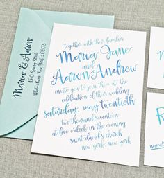 NEW Maria Aqua Blue Watercolor Hand Lettered Script Wedding Invitation