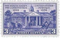 June 21, 1938: 150th Anniversary stamp of the ramfication of the Constution. Image of Independence Hall, Philadelphia, PA