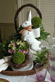 Wonderful 18 inch, white rabbit found at TJ's last year anchors this wonderful Easter centerpiece on buffet table.