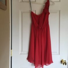 Forever 21 One Shoulder Chiffon Rosette Dress Small, orange chiffon dress. Perfect for wedding season! No stains or rips! Pet friendly, smoke free home. Forever 21 Dresses One Shoulder