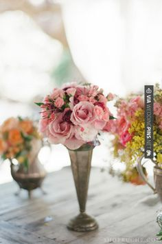 Sweet! - Vintage vases for floral decor.   CHECK OUT MORE GREAT VINTAGE WEDDING IDEAS AT WEDDINGPINS.NET   #weddings #vintagewedding #weddingvintage #oldweddingphotos #events #forweddings #iloveweddings #romance #vintage #planners #old #ceremonyphotos #weddingphotos #weddingpictures