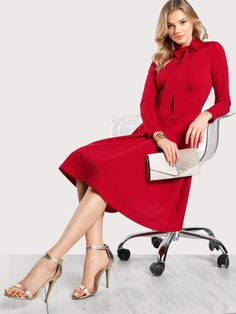 To find out about the V Cut Tied Neck Fitted & Flared Dress at SHEIN, part of our latest Dresses ready to shop online today! Cozy Fashion, Fashion Looks, Midi Dress With Sleeves, Sleeve Dresses, Fit N Flare Dress, V Cuts, Latest Dress, Fashion Lookbook, Dress P