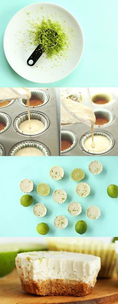 7 Ingredient Vegan Key Lime Pie Bites Super easy so creamy and delicious glutenfree optional Healthy Vegan Dessert, Vegan Dessert Recipes, Vegan Treats, Healthy Sweets, Vegan Foods, Vegan Dishes, Dairy Free Recipes, Raw Food Recipes, Vegan Potluck
