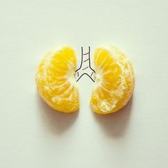 Artist Javier Pérez uses found objects and ink to create simplistic illustrations for his Instagram CintaScotch (via BuzzFeed) I like this as the pieces of orange have been used to look like lungs and its cute.