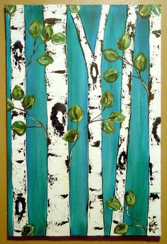 Birch Trees on Deep Turquoise Art Projects For Adults, Easy Art Projects, Birch Tree Art, Tree Illustration, Simple Art, Elementary Art, Painting Inspiration, Art Lessons, Art Drawings