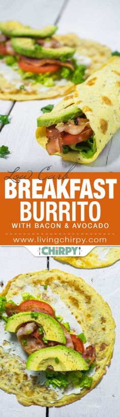 Low Carb Recipes low carb breakfast burrito with bacon and avocado - Crisp Bacon, Lettuce, Tomato and Creamy Avocado wrapped in an egg crêpe. This Low Carb Breakfast Burrito is low carb breakfast heaven! Ketogenic Recipes, Paleo Recipes, Low Carb Recipes, Cooking Recipes, Ketogenic Diet, Vegetarian Cooking, Lchf Diet, Paleo Diet, Nutrition Diet