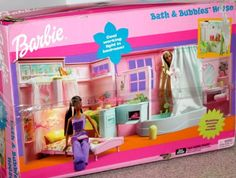 Barbie Bath & Bubbles House by Mattel, 2002 - Features working shower and light, desk folds down to become a bed and outdoor cafe area on reverse. Barbie Bath, Barbie Doll Set, Playsets For Sale, Barbie House Furniture, Bubble House, American Girl Furniture, Disney Characters Costumes, Doll Toys, Dolls