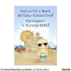 Cool Beach Baby Boys 1st Birthday Invitation