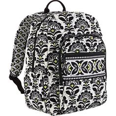 Vera Bradley Campus style backpack This pattern is no longer in stock anywhere and is black and white with a subtle hint of yellow it is used but in very great condition still! Will answer any questions about condition, pocketing etc. Vera Bradley Bags Backpacks