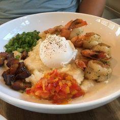 Photo of Burlingame Restaurant - Fernandina Beach, FL, United States. Brunch - Shrimp and Grits w/ a Poached Egg