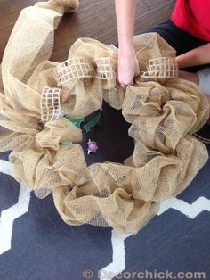 Burlap with Copper, Gold and Bronze Stripes Deco Mesh Fall Wreath with Rattan Orbs and Glittery Acorns - Hastag Stalk Mesh Ribbon Wreaths, Wreaths And Garlands, Deco Mesh Wreaths, Holiday Wreaths, Winter Wreaths, Floral Wreaths, Spring Wreaths, Summer Wreath, Burlap Crafts
