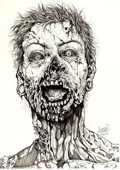 Zombie Guy by andy-doug-funie on DeviantArt Creepy Sketches, Zombie Drawings, Scary Drawings, Dark Art Drawings, Art Drawings Sketches, Arte Horror, Horror Art, Arte Zombie, Zombie Illustration