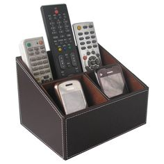 3 Compartments Leather Remote Control Phone Mail Cd Organizer Storage