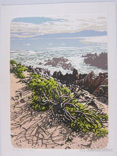 De Kelders Lichen, woodcut by Joshua Miles