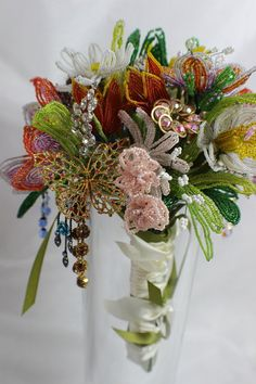 French Wired Beaded Glass Flower Wedding Bouquet One by BonTonChic