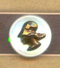 Sm Old Victorian Brass MINERVA on Pearl Button #7066