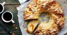 Tender sweet yeast coffecake filled with apricot and sprinkled with toasted almonds.