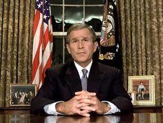 President George W. Bush - Address to the Nation on 9-11-01  11 September, Oval Office, Washington, D.C.  wem