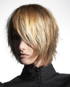 A medium blonde straight coloured choppy shaggy bob Layered hairstyle by L'anza