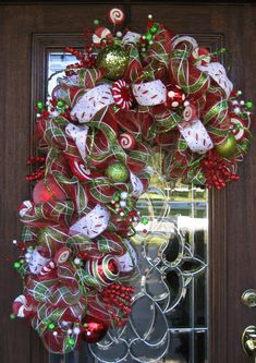 Deco Mesh PLAID CANDY CANE Wreath by decoglitz on Etsy