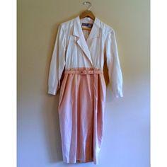 Vintage Pink and White Dress with Belt - vinted.com