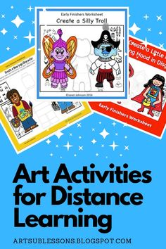Need to send art assignments home with kids? These worksheets have directions; and a lightly drawn character all on page. All you need to do is print and distribute. Save yourself the headache of trying to create something new. Art Lessons For Kids, Art Activities For Kids, Art Lessons Elementary, Art Sub Plans, Art Lesson Plans, Easy Art Projects, Projects For Kids, Project Ideas, Art Classroom