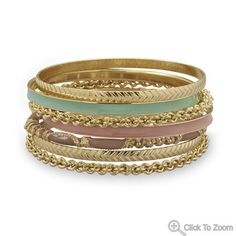 Set of 7 Gold Tone Fashion Bangle Bracelets with Green and Tan Enamel