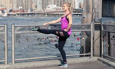 MOVE #1: INNER THIGHS: In standing position, place your hands on your hips, bring your heels together and toes apart. Extend your right leg straight in front of you toward hip height and flex the foot... http://www.thecoveteur.com/leg-toning-barre-exercises/