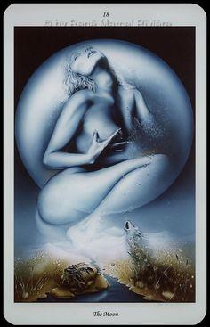 The Moon, Erotisches Tarot, Rene Marcel Riviere The Moon Tarot Card, Star Tarot, Oracle Tarot, Tarot Card Meanings, Tarot Card Decks, Tarot Readers, Major Arcana, Deck Of Cards, Artwork