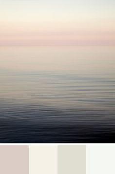 Benjamin Moore's Colour Trends for 2015, Quiet on the Set. Colour Palette - Soft Sand, Pink Damask, Halo, Chantilly Lace. Shown with seascape photograph Bubblegum Elephant.