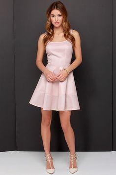 Pretty Blush Dress - Skater Dress - Pink Dress - $45.00