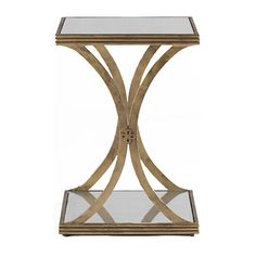 Felicia Antique Gold Iron Eglomise Square Side Table (30.610 RUB) ❤ liked on Polyvore featuring home, furniture, tables, accent tables, mirror accent table, iron shelves, iron end tables, mirrored table and mirrored shelf