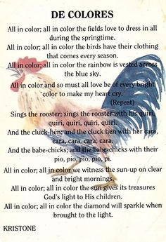 """The song in English, """"De Colores"""""""