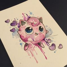 Jiggly puff  available as a tattoo  prints coming  more on the way  #watercolourtattoo #watercolortattoo #watercolor #pokemon #pokemontattoo #jigglypuff #jigglypufftattoo #animetattoo #kawaiitattoo #ladytattooer #girlystuff #sakuratattoo #leicestertattoo #cartoontattoo