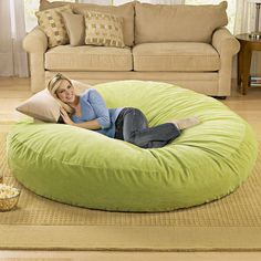 Giant Bean Bag Chair Lounger at Brookstone—Buy Now! Giant Bean Bag Chair, Giant Bean Bags, Giant Dog Beds, Puff Gigante, My Dream Home, Sweet Home, New Homes, Pillows, Cool Stuff