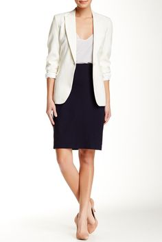 The Exposed Zip Pencil Skirt is perfect for a first day at work or school.